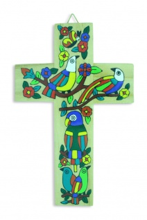 Kinderkreuz Vögel Holzkreuz El Salvador 15 cm handbemalt Wandkreuz