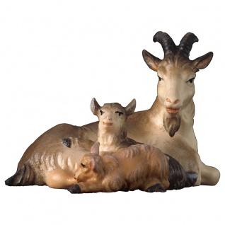 Ziege mit zwei Zicklein liegend Holzfigur geschnitzt Südtirol Krippenfigur