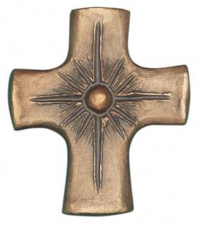 Wandkreuz Strahlen, 8 x 7 cm Bronze Kruzifix Heinz Uppendahl Handarbeit Kreuz