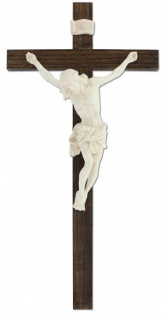 Wandkreuz Kruzifix Linde dunkel gebeizt Ahornkorpus Jesus Körper Kreuz 33, 5 cm