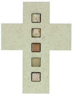 Wandkreuz Naturstein 17 cm Kreuz Inlays aus Mosaiksteinen Kruzifix