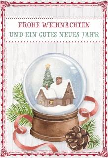 Glückwunschkarte Frohe Weihnachten (6 St) Schneekugel Grußkarte Kuvert