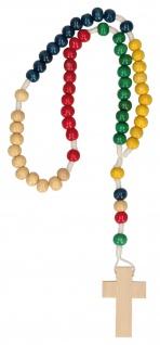 Rosenkranz Mission geknüpft bunt Holzperlen 27 cm Gebetskette