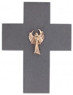 Wandkreuz Schutzengel Engel Bronze Schiefer Kreuz 13 x 17 cm Kruzifix Christlich