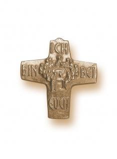 Wandkreuz Abendmahl Bronze Ich bin bei euch 10 cm Erstkommunion Kreuz