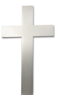 Wandkreuz Edelstahl schlicht mattiert Kreuz Handarbeit Stahlkreuz