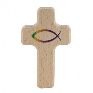 Kreuz für Kinder Fisch Ichthys 11cm Kruzifix Holz-Kreuz Wandkreuz