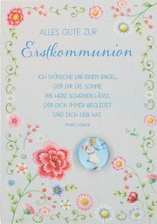 Glückwunschkarte mit Glasmagnet Alles Gute zur Erstkommunion (5 Stück) Kuvert