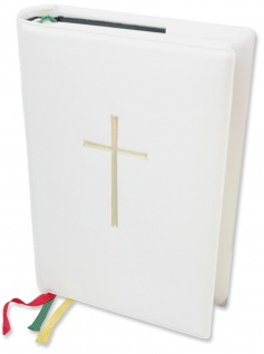 Gotteslob-Steckhülle Kreuz Weiß wattiert Einband Gesangbuch Katholisch