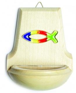 Weihwasserkessel Fisch Glas bunt Regenbogenfarben 11 cm Holz Weihbecken