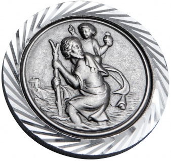 Christophorus Autoplakette Ø 3 cm Silberfarben Metall Magnet Klebefläche