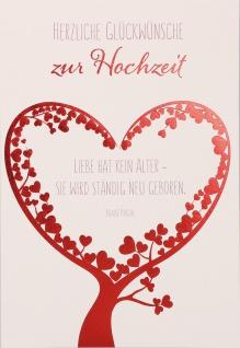 Glückwunschkarte Hochzeit 6 St Kuvert Naturpapier Folienprägung Herz Liebe Baum