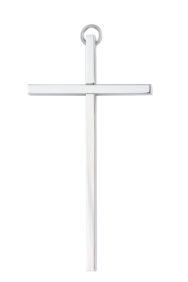 Wandkreuz schlicht glatt Kreuz Messing vernickelt silberfarben Kruzifix