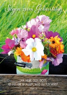 Postkarte Geburtstag Blumenstrauß 10 St Adressfeld Bibelwort Segen Beistand Gott