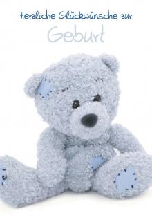 Glückwunschkarte Herzliche Glückwünsche zur Geburt (6 St) Blauer Teddybär