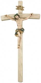 Wandkreuz Kruzifix gebogen Naturholz gekerbt 25 cm Kreuz Kunstguss Korpus bemalt