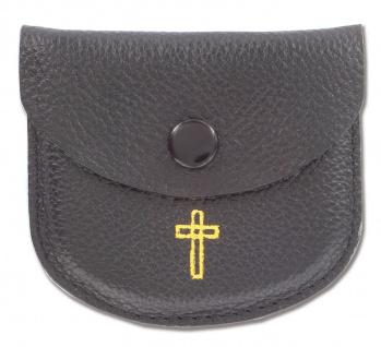 Rosenkranz Etui Kreuz Leder schwarz Goldprägung Kommunion Tasche Erstkommunion