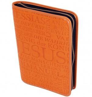 Gotteslobhülle Jesus Christus Großdruck Kunstleder Orange Gesangbuch Einband
