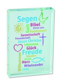 Glasquader Segen für dich, 6 x 9 cm Erstkommunion
