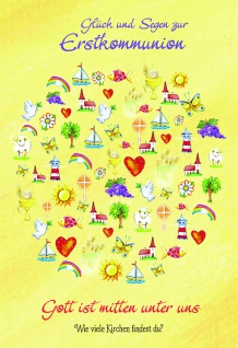Kommunionkarte Glück und Segen Erstkommunion (6 St) Glückwunschkarte Grußkarte