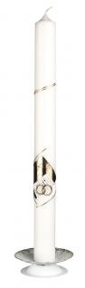 Kerzenleuchter Metall weiß goldfarben Ø 10 cm Kerzenhalter Kommunion Kerze - Vorschau 2