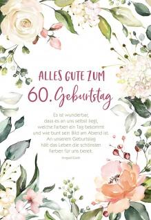 Grußkarte 60. Geburtstag 6 St Kuvert Irmgard Erath Naturpapier Gratulation Glück