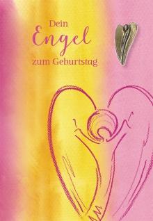 Glückwunschkarte Geburtstag Bronze-Engel 5 St Kuvert Naturpapier Freude