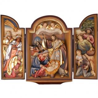 Flügelaltar Krippe Holzfigur geschnitzt Südtirol Weihnachtskrippe