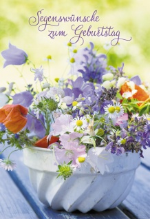Glückwunschkarte Segenswünsche zum Geburtstag (6 St) Blumen in weißem Blumentopf