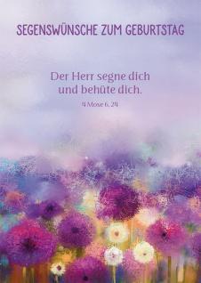 Postkarte Geburtstag Blumen 10 St Adressfeld Aquarell Bibelwort Segen Schutz