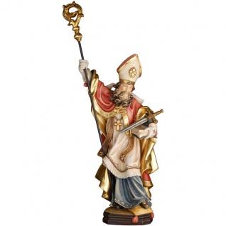 Heiliger Wienfried mit Schwert Holzfigur geschnitzt Südtirol Schutzpatron