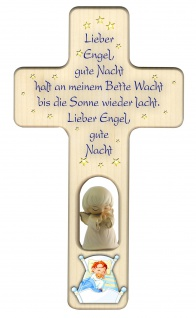 Kinderkreuz Gute-Nacht Gebet Schutzengel, weiß Holz Kreuz geschnitzt 20 cm