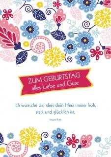 Postkarte Geburtstag Blumen 10 St Adressfeld Herz Wunsch Glück Freude Stärke