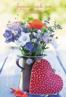 Glückwunschkarte Segenswünsche zum Geburtstag (6 St) Blumen und Herz Psalm