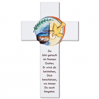 Wandkreuz Taufe Kinderkreuz Buchenholz weiß lackiert Kunstdruck Text 15 cm 20 cm
