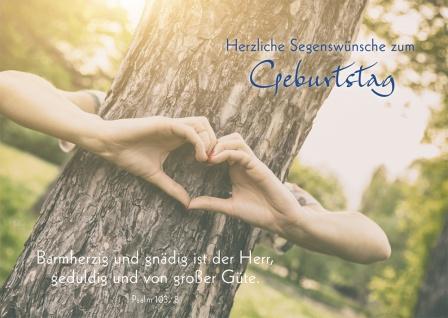 Postkarte Herzliche Segenswünsche zum Geburtstag (10 St) Herz aus Händen Psalm