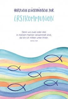 Glückwunschkarte Wellen Fische Herzliche Glückwünsche zur Erstkommunion 6 Stück