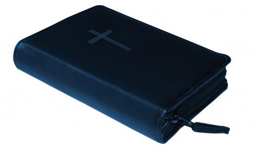 Gotteslobhülle Kreuz Rindleder Blau Gesangbuch Einband Katholisch