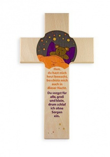 Kinderkreuz Beschützer Buche 15 cm 20 cm Wandkreuz Holz Kreuz Gebet Einschulung