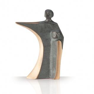 Bronzefigur Vater und Sohn 13 cm Bronze Skulptur