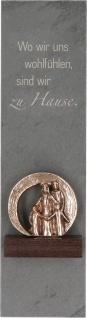 Schieferstele Zuhause Familien-Figur Bronze Sockel Wengeholz Dekoration