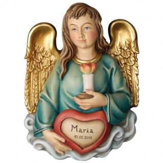 Herz-Engel mit Namen Holzfigur geschnitzt Engelfigur aus Südtirol