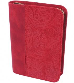 Gotteslobhülle Blumen Velourleder Rot Großdruck Gesangbuch Einband Katholisch