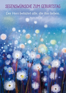 Postkarte Geburtstag Psalm Blumen 10 St Bibelwort Schutz Liebe Glauben