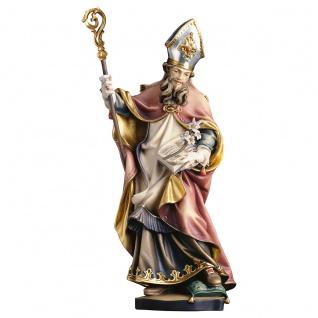 Heiliger Vitalis von Salzburg mit Lilie Holzfigur geschnitzt Heiligenfigur