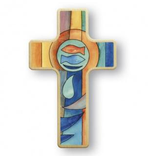 Kinderkreuz Kommunion Fische Ichthys Buchenholz 11 x 7 cm Wandkreuz Holz Kreuz