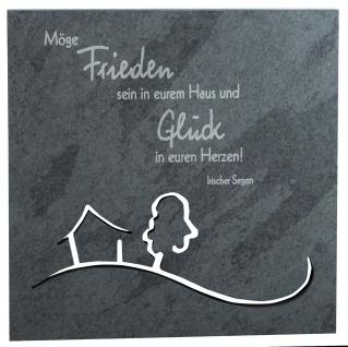 Haussegen Frieden und Glück 14, 5x14, 5 cm Schiefertafel