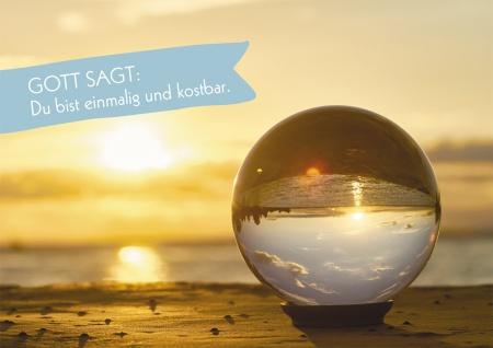 Postkarte Gott sagt: Du bist einmalig und kostbar (10 St) Kugel mit Spiegelbild