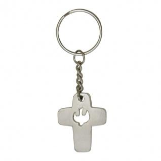 Schlüsselanhänger Kreuz Taube Schlüsselring 8 cm Christlich