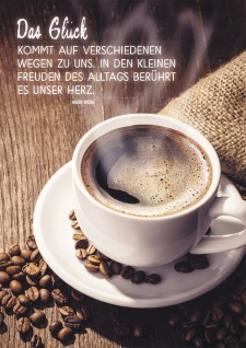 Postkarte Das Glück (10 St) Kaffeetasse Heidi Rose Grußkarte mit Adressfeld